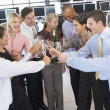 Stock Photo: Stock Traders Celebrating In Office