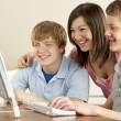 Teenagers on Computer at Home — Stock Photo #4814671