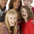 Studio Portrait Of Five Teenage Friends - Stock Photo