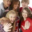 Studio Portrait Of Five Teenage Friends — Foto de Stock
