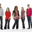 Full Length Studio Portrait Of Five Teenage Friends — Stock Photo #4814817