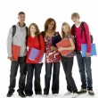 Full Length Studio Portrait Of Five Teenage Students — Stock fotografie