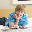Teenage Boy Writing In Diary In Bedroom — 图库照片