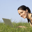 Woman Using Laptop Outdoors In Summer Countryside — Stock Photo