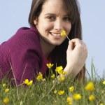 Teenage Girl Laying In Summer Meadow — Stock Photo #4815207
