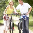 Royalty-Free Stock Photo: Couple riding bikes in countryside