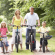 Family riding bikes in countryside — Stock Photo #4815362