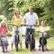 Family riding bikes in countryside - Stock Photo