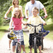 Stock Photo: Family riding bikes in countryside