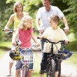 Family riding bikes in countryside — Stock Photo #4815368
