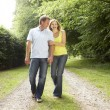 Stock Photo: Middle aged couple walking in countryside