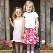 Two Young Girls Playing in Wooden House - Stock fotografie
