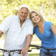 Senior Couple On Cycle Ride In Park — Stock Photo