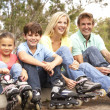 Family Putting On In Line Skates In Park - Foto Stock