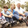 Grandparents And Grandchildren Putting On In Line Skates In Park — Stock Photo