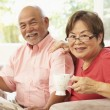 Senior Couple Reading Newspaper At Home — Stock Photo