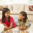 Two Children Playing Board Game At Home — Stock Photo