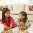Two Children Playing Board Game At Home — Stock Photo #4816211