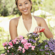 Young Woman Working In Garden — Stock Photo