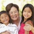 Stock Photo: Grandmother With Grandchildren In Garden