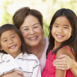 Grandmother With Grandchildren In Garden — Stock Photo #4816280