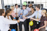 Stock Traders Celebrating In The Office — Foto Stock