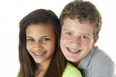 Teenage Couple in Studio — Stock Photo