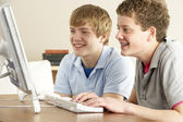 Two Teenage Boys on Computer at Home — Stock Photo