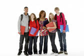Full Length Studio Portrait Of Five Teenage Students — Stock Photo