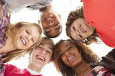 Five Teenage Friends Looking Down Into Camera — Stock Photo