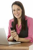 Female Businesswoman Using Laptop At Desk — Stock Photo