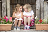 две молодые девушки, играя в деревянном доме — Стоковое фото