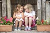Dvě mladé dívky hrají v dřevěném domě — Stock fotografie