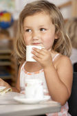 Young Boy Having Tea at Montessori/Pre-School — Stock Photo