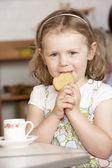 Young Girl Having Tea at Montessori/Pre-School — Photo