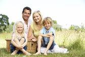 Family having picnic in countryside — Stock Photo