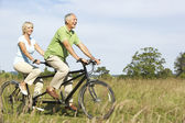 Mature couple riding tandem — Stock Photo