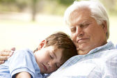 Grandfather And Grandson Taking Nap Together — Stock Photo