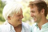 Porträtt av äldre man talar till vuxen son — Stockfoto