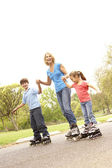 Grandmother And Grandchildren Skating In Park — Stock Photo
