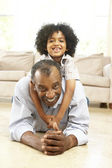 Grandfather And Grandson Playing Together At Home — Stock Photo