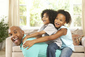 Father Playing With Children At Home — Stock Photo