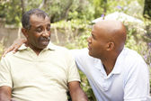 Senior Man Having Serious Conversation Adult Son — Stock Photo