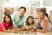 Family Playing Board Game At Home — Stock Photo