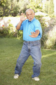 Senior Man Doing Tai Chi In Garden — Stock Photo