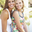 Stock Photo: Two Female Friends Having Fun Together
