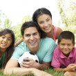 Family In Park With Football — Stock Photo