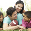 Family In Park With American Football — Foto Stock