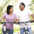Senior Couple Riding Bikes In Park — Foto de Stock