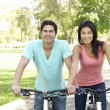 Young Couple Riding Bikes In Park — Stock Photo #4822360
